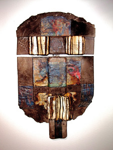 image 8 with PHILADELPHIA Wall Piece. 57x35x12__ cms. Raku fired clay and mixed media